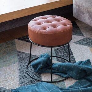 Art-Leon Faux Leather Stackable Footstool Ottoman (Black Legs - Tan)