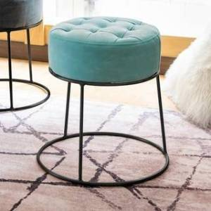 Art-Leon Faux Leather Stackable Footstool Ottoman (Black Legs - Candy Green)