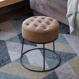 Art-Leon Faux Leather Stackable Footstool Ottoman (Black Legs - Khaki)