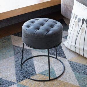 Art-Leon Faux Leather Stackable Footstool Ottoman (Black Legs - Dark Grey)