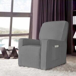 Enova Home Stretch Spandex Jacquard Recliner Chair Slipcovers with Elastic Bottom Side Pocket (light grey)