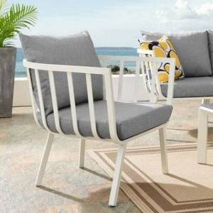 Modway Riverside Outdoor Patio White Aluminum Armchair (Grey)