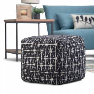 """WYNDENHALL Burrell Transitional Cube Pouf in Dark Blue, White Woven Cotton (No - Square - Abstract - Handmade - 18""""W x 18""""D x 14""""H - Pouf - Textured"""