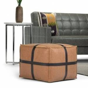 WYNDENHALL Barlowe Transitional Square Pouf in Brown Faux Leather