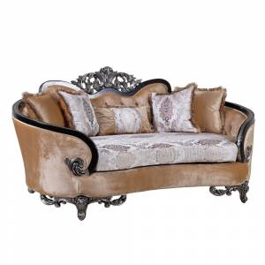 Overstock Wooden Curved Loveseat with Intricate Engravings, Beige and Black