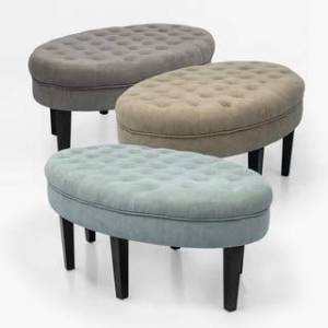 Adeco OF0034-1 Oval Footstool-48 Inch Storage Ottomans, Gray