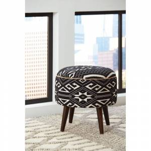 Overstock Shukri Black and White Round Accent Stool (Ottoman Included - Bohemian & Eclectic - Round - Geometric - Wood Finish - Pattern - Foot Stool -