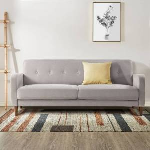 Crown ADAIR Mid-Century Modern Loveseat / Sofa / Couch with Armrest Pockets, Tufted Linen Fabric, Light Grey - Crown Comfort