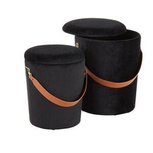 Rio Carbon Loft Redding Nesting Strap Contemporary Velvet Ottoman Set (Black)