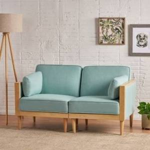 Christopher Knight Home Pembroke Mid-Century Modern Fabric Upholstered Sectional Loveseat with Piped Cushions by Christopher Knight Home (Sky Blue + Natural)