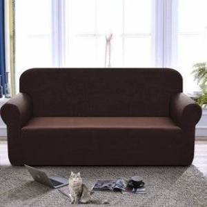 Enova Home High Stretch Loveseat Cover 1 Piece Couch Covers, Lounge Covers for 2 Cushion Couch - N/A (Chocolate)