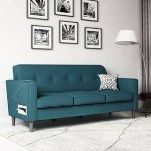Copper Grove Larkin Sofa with USB and Power Ports (Peacock Blue)