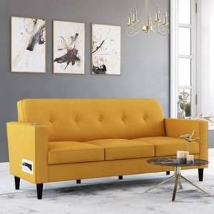 Copper Grove Larkin Sofa with USB and Power Ports (Mustard Yellow)
