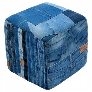 "St. Croix Trading Blue Jeans Repurposed 19"" Cube Pouf"