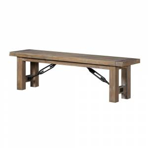 Benzara Acacia Wood Bench with Thick Block Legs, Brown (Acacia - Acacia)