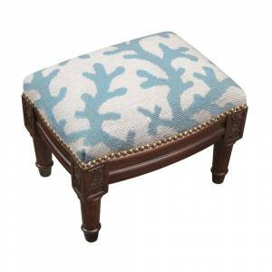123 Creations Blue Coral Needlepoint Footstool (Nautical & Coastal - Foot Stool - Small - Assembled - Wood - Blue - Solid)