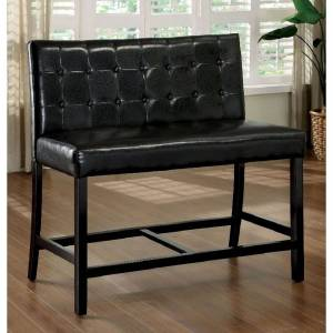 William's Imports Co 2-Seater Coutner Height Chair, Black