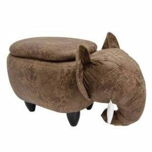 Bella Kids Upholstered Elephant Ottoman with Storage (Brown/Black)