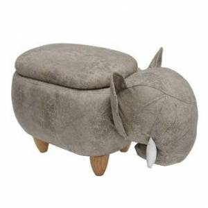 Bella Kids Upholstered Elephant Ottoman with Storage (Brown/Grey)
