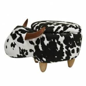 Bella Kids Upholstered Cow Ottoman (Cow Print)