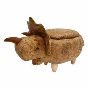 Bella Kids Upholstered Triceratops Ottoman with Storage (Yellow/Brown)