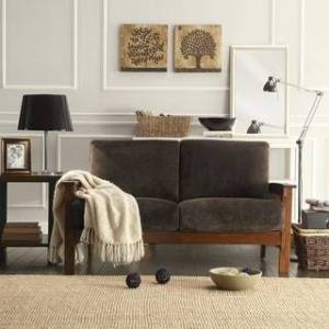 iNSPIRE Q Hills Mission-Style Oak Loveseat by iNSPIRE Q Classic (Dark Brown)