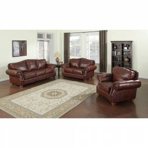 Sofaweb Brandon Distressed Whiskey Italian Leather Sofa Set (Brown - 3 Piece)