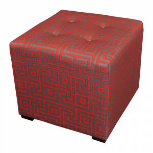 Sole Designs Red 4-button Tufted Ottoman (Merton Atomic Red Square 4 Button Tufted Ottoman)
