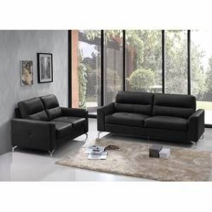 Bella Renquist Top Grain Leather Modern Sofa & Loveseat Set (Black)