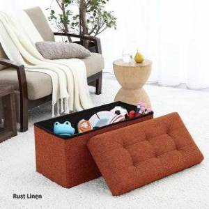 """Ornavo Home Foldable Tufted Linen Large Storage Ottoman Bench Foot Rest Stool/Seat - 15"""" x 30"""" x 15"""" (RUST)"""