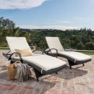 Havenside Home Vilano Outdoor Cushioned Lounge Chair (Set of 2) by Havenside Home (Grey/Beige)