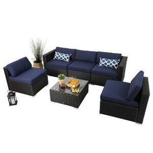 Overstock PHI VILLA 6-Piece Outdoor Sectional Sofa Rattan Patio Furniture Set Conversation Set with Tea Table, 3 types - 6-Pieces Sets (Symmetrical)