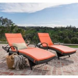 Havenside Home Vilano Outdoor Cushioned Lounge Chair (Set of 2) by Havenside Home (Brown/Orange)