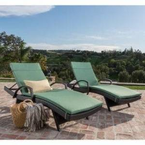 Havenside Home Vilano Outdoor Cushioned Lounge Chair (Set of 2) by Havenside Home (Brown/Dark Jungle Gree)