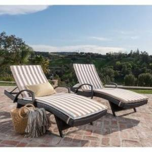 Havenside Home Vilano Outdoor Cushioned Lounge Chair (Set of 2) by Havenside Home (Brown/Brown White Stripe)