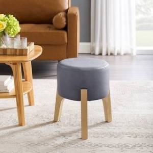Art-Leon Accent Wood Legs Round Upholstery Ottoman (Dust Blue)