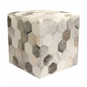 """Pasargad Home Cowhide Ottoman 18"""" x 18"""" x 18"""" (No - Leather - Silver - Assembled - Casual - Square - Animal Print - Ottoman Included - 18""""x18""""x18"""" -"""