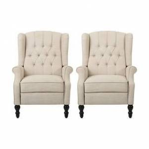 Christopher Knight Home Walter Tufted Fabric Recliner (Set of 2) by Christopher Knight Home (Beige + Dark Brown)