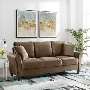 Overstock 82 Inch Couch Sofa Modern Velvet  Sofa 3 Seater Couch for Living Room (Brown)