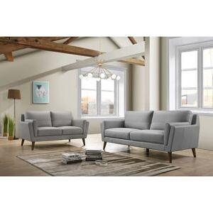 Bella Haldeman Top Grain Leather Modern Sofa & Loveseat Set (Gray)