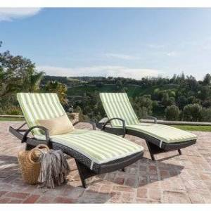 Havenside Home Vilano Outdoor Cushioned Lounge Chair (Set of 2) by Havenside Home (Brown/Brown Green Stripe)