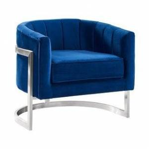 Armen Living Kamila Contemporary Accent Chair in Grey Velvet and Brushed Stainless Steel Finish (Blue)