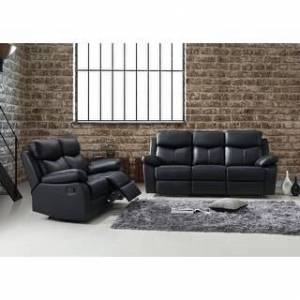 Bella Quartz 2pc Leather Reclining Sofa Set - Sofa + Loveseat (Black)