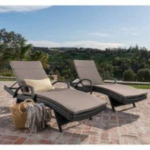 Havenside Home Vilano Outdoor Cushioned Lounge Chair (Set of 2) by Havenside Home (Grey)