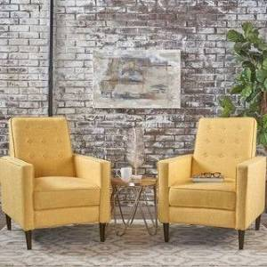 Christopher Knight Home Mervynn Mid-century Fabric Recliner Chairs (Set of 2) by Christopher Knight Home (Muted Yellow)