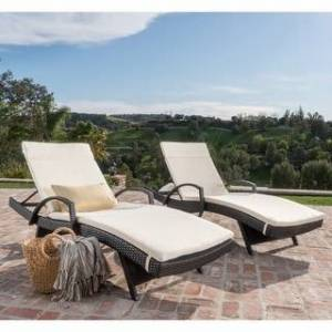 Havenside Home Vilano Outdoor Cushioned Lounge Chair (Set of 2) by Havenside Home (Brown/Beige)