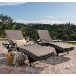 Havenside Home Vilano Outdoor Cushioned Lounge Chair (Set of 2) by Havenside Home (Brown/Charcoal)