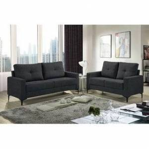 Bella Freeholm Minimalist Upholstered Sofa & Loveseat Set (Gray/ Charcoal/ Blue/ Black) (Charcoal Polyester)