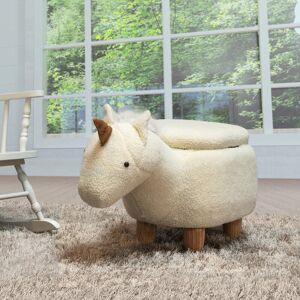 Bella Kids Upholstered Unicorn Ottoman with Storage (Ivory)
