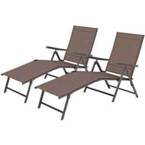 Overstock PHI VILLA 2 Piece 5 Stages Adjustable Folding Lounge Deck Chair,Outdoor Patio Metal Beach Yard Pool Recliner Chaise - Brown (Brown)